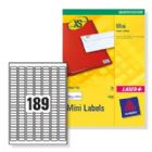 Avery Mini Labels Inkjet 189 per Sheet 25.4x10mm White Ref J8658REV-25 [4725 Labels]